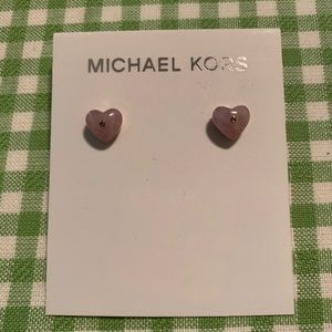 Michael Kors Carved Heart Rose Quartz/ RG Studs